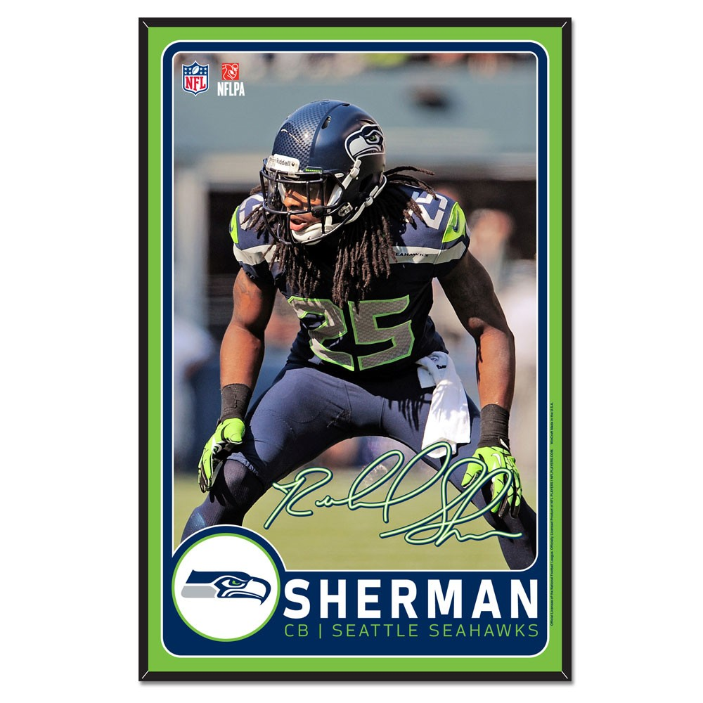 Seattle Seahawks Official NFL 11 inch  x 17 inch  Richard Sherman Beveled Wood Sign by Wincraft