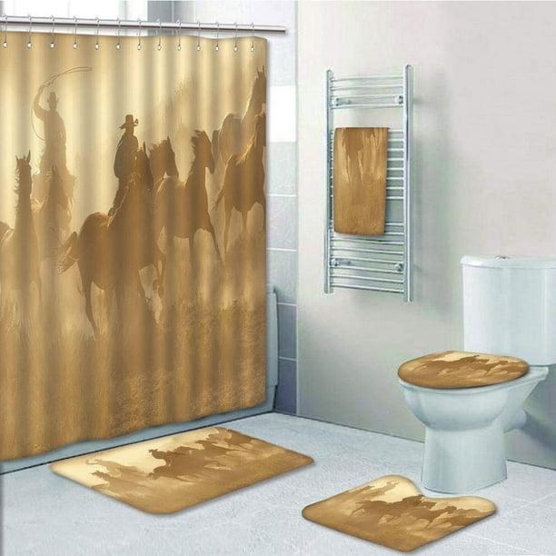 Western Cowboy Brown Shower Curtain Bath Mat Toilet Cover Rug Bathroom Decor