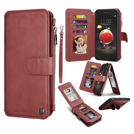 the best attitude 52c9b 1c0d0 LG Rebel 3 LTE Wallet Case, Case For LG Risio 3, LG Rebel 4 Pu leather  Cover, Tekcoo Premium Leather [Detachable Wallet] Zipper Pocket Credit Card  ...