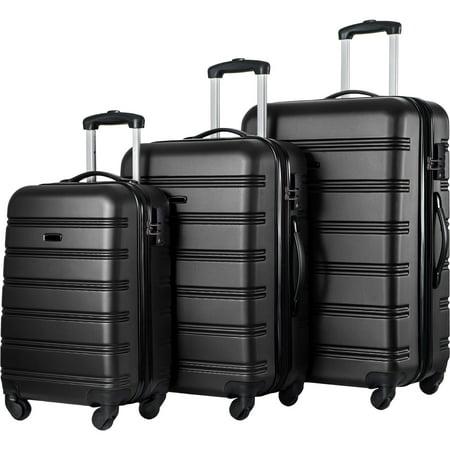 "MASBEKTE 3 Piece Luggage Set Hardside 4 wheel Spinner Suitcase with TSA Lock 20"" 24' 28"" Black"