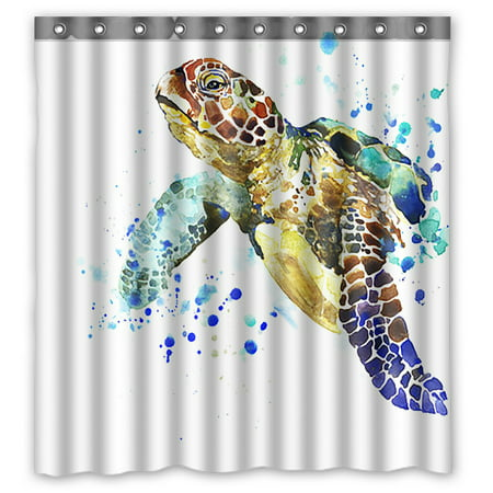 PHFZK Cute Animal Shower Curtain, Watercolor Sea Turtle Polyester Fabric Bathroom Shower Curtain 66x72 inches ()