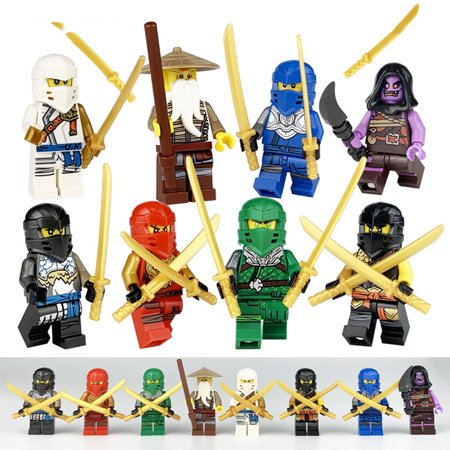 Ninjago Set of 8 Figures - Wooden Children Assembled Building Blocks Toys Gift - image 1 de 3