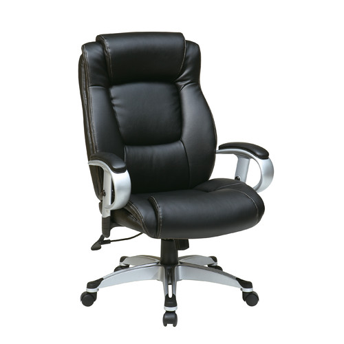 Office Star Executive Bonded Leather Chair with Padded Height Adjustable Arms, Multiple Colors