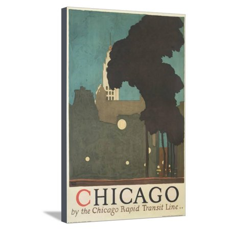Chicago by the Chicago Rapid Transit Line Stretched Canvas Print Wall Art By Ervine Metzl