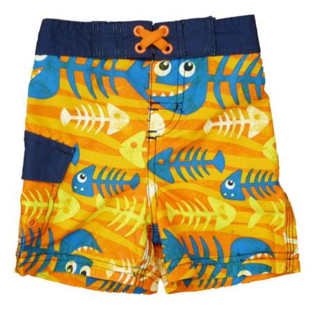 Joe boxer infant toddler boys orange skeleton fish swim for Fishing swim trunks