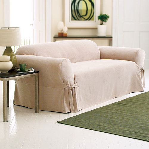 Better Homes and Gardens Soft Suede Loveseat Slipcover, Taupe