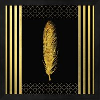 Black & Gold - Feathered Fashion by LightBoxJournal, Framed Wall Art, 13.25W x 13.25H