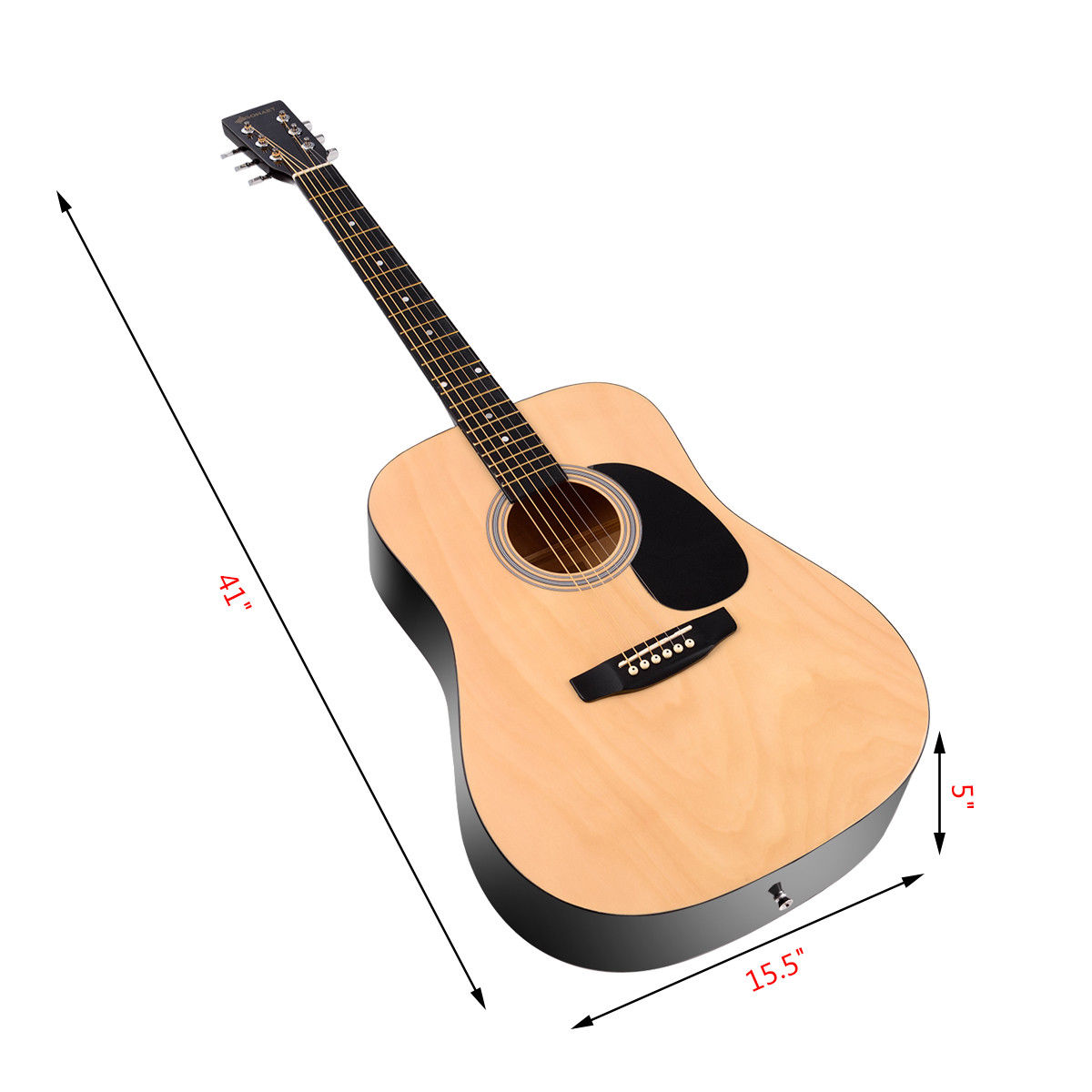 "Sonart 41"" Acoustic Folk Guitar 6 String w/ Case Strap Pick Strings Beginners - image 6 of 10"