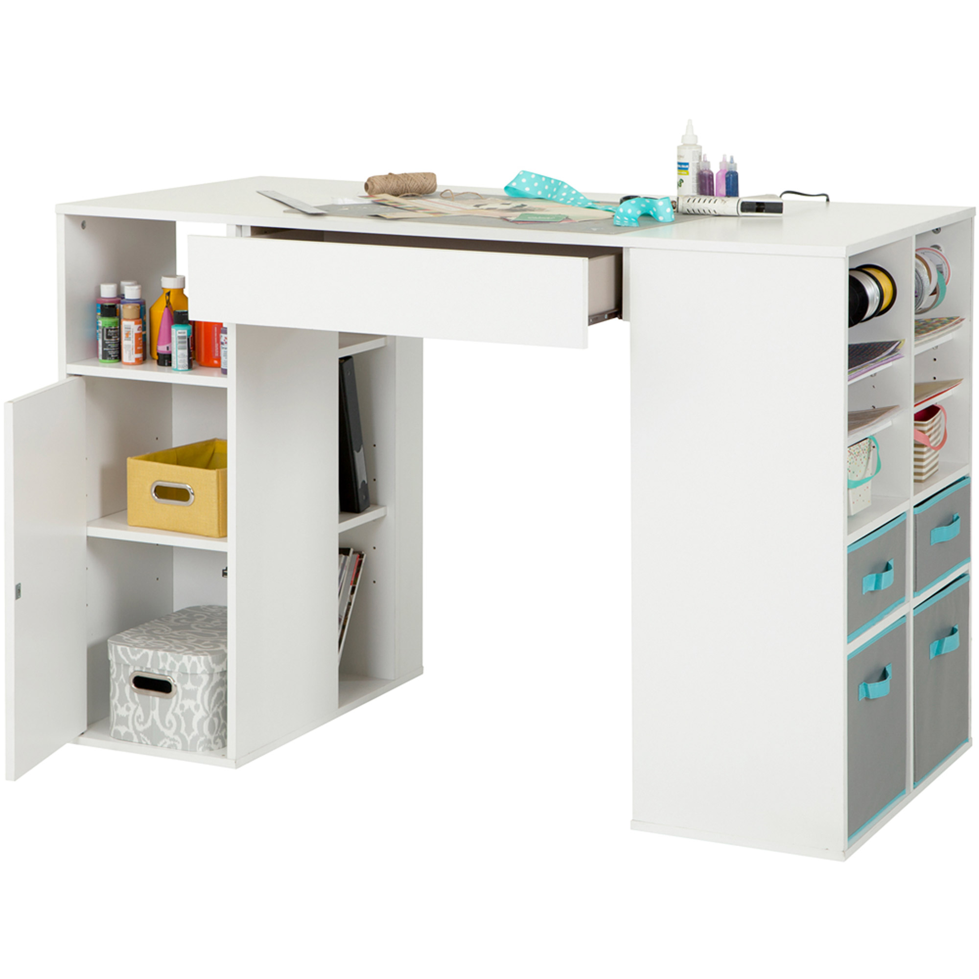 South Shore Crea White Counter Height Craft Table With Storage