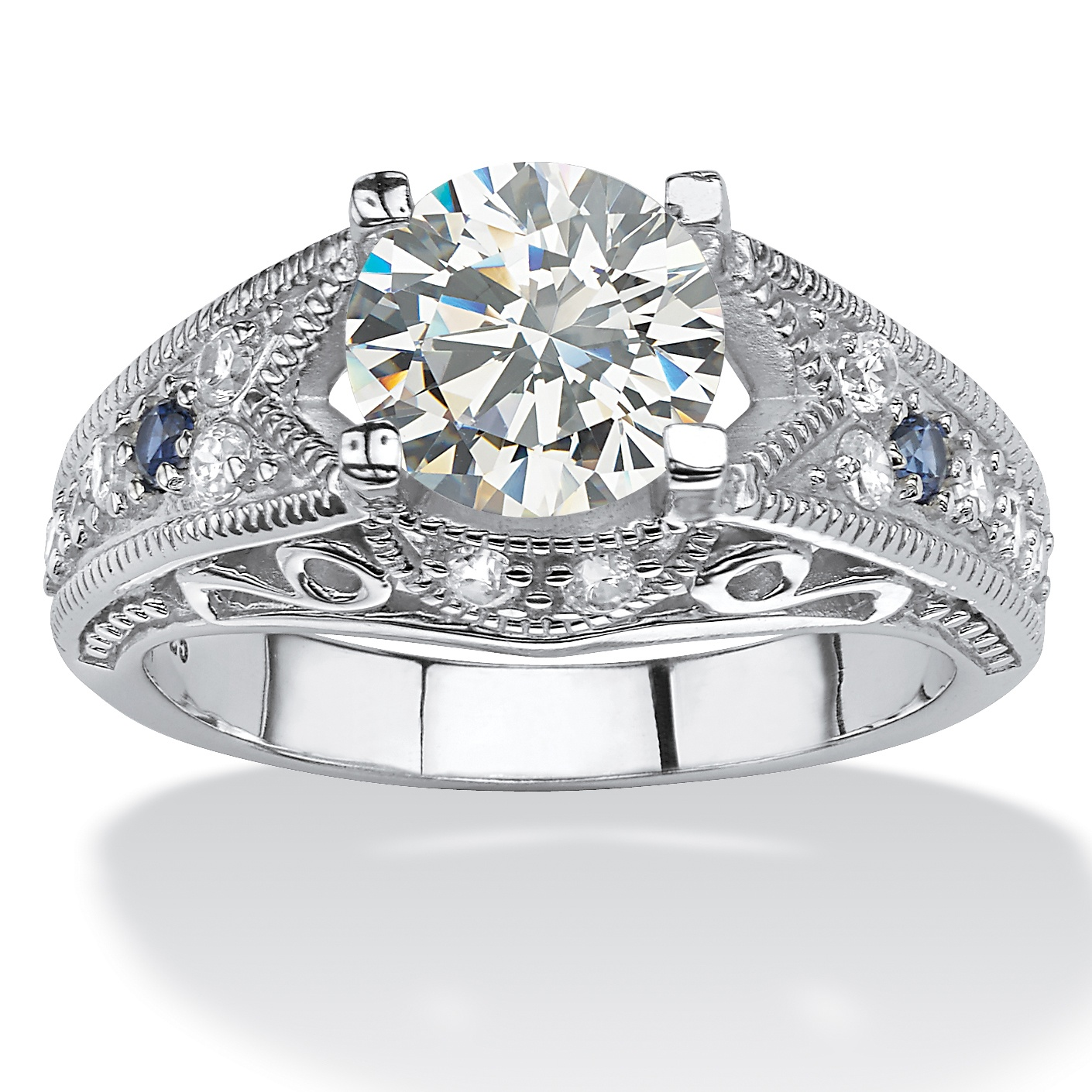 2.45 TCW Round Cubic Zirconia Miligrain Ring in Platinum over Sterling Silver