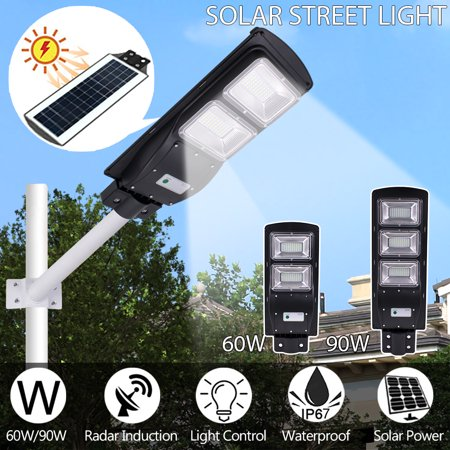 Waterproof 60/90W 120/180LED Solar Street Light Outdoor Induction Super Bright Wall Lamp Light Control Garden Countryard Fence Hallway Yard Patio Driveday IP67 + Lamp Support ()
