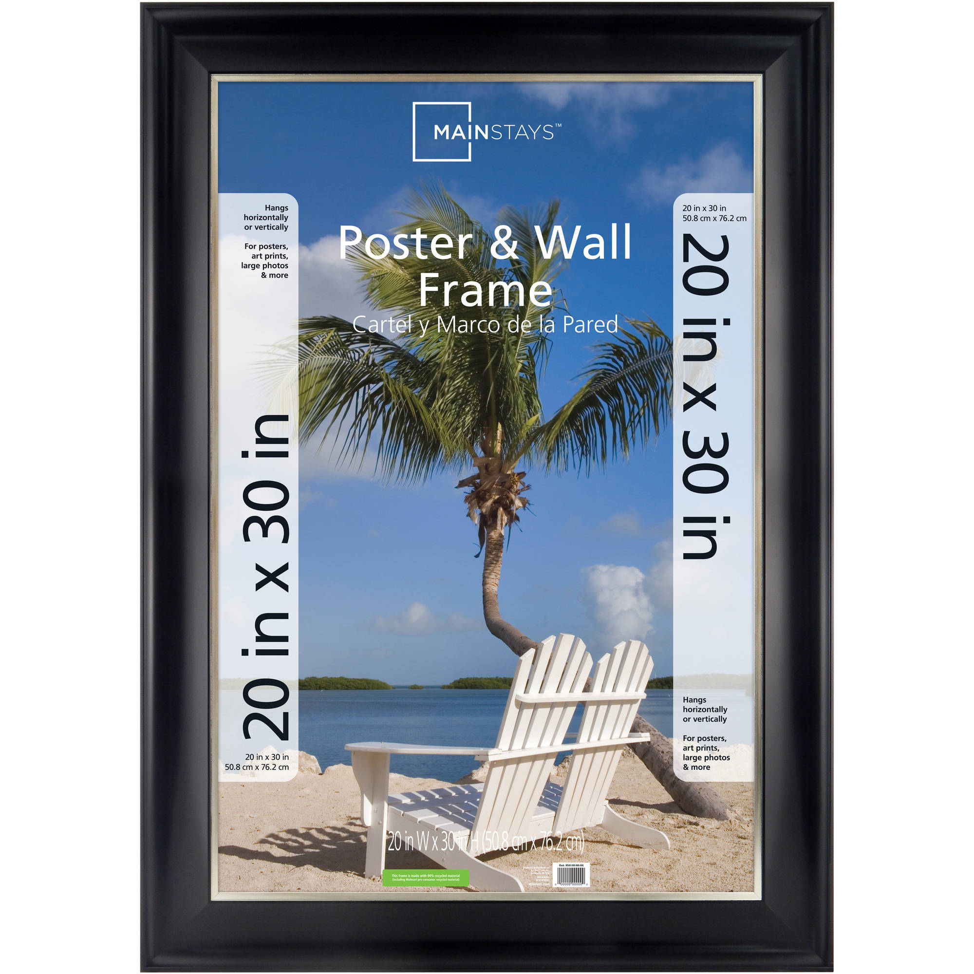 Mainstays 20 X 30 Two Tone Poster Frame Black With Champagne