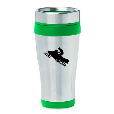 16 oz Insulated Stainless Steel Travel Mug Snowmobile Rider (Green)