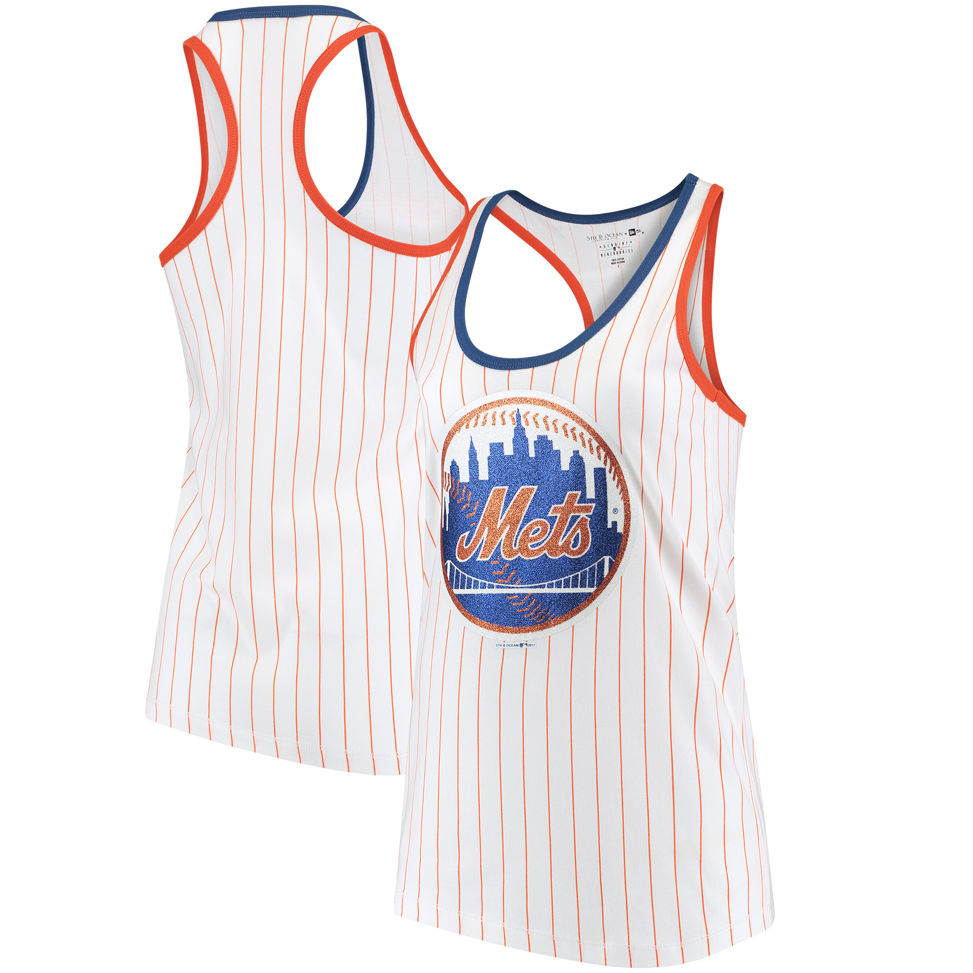 New York Mets 5th & Ocean by New Era Women's Pinstripe Racerback Tank Top - White/Orange