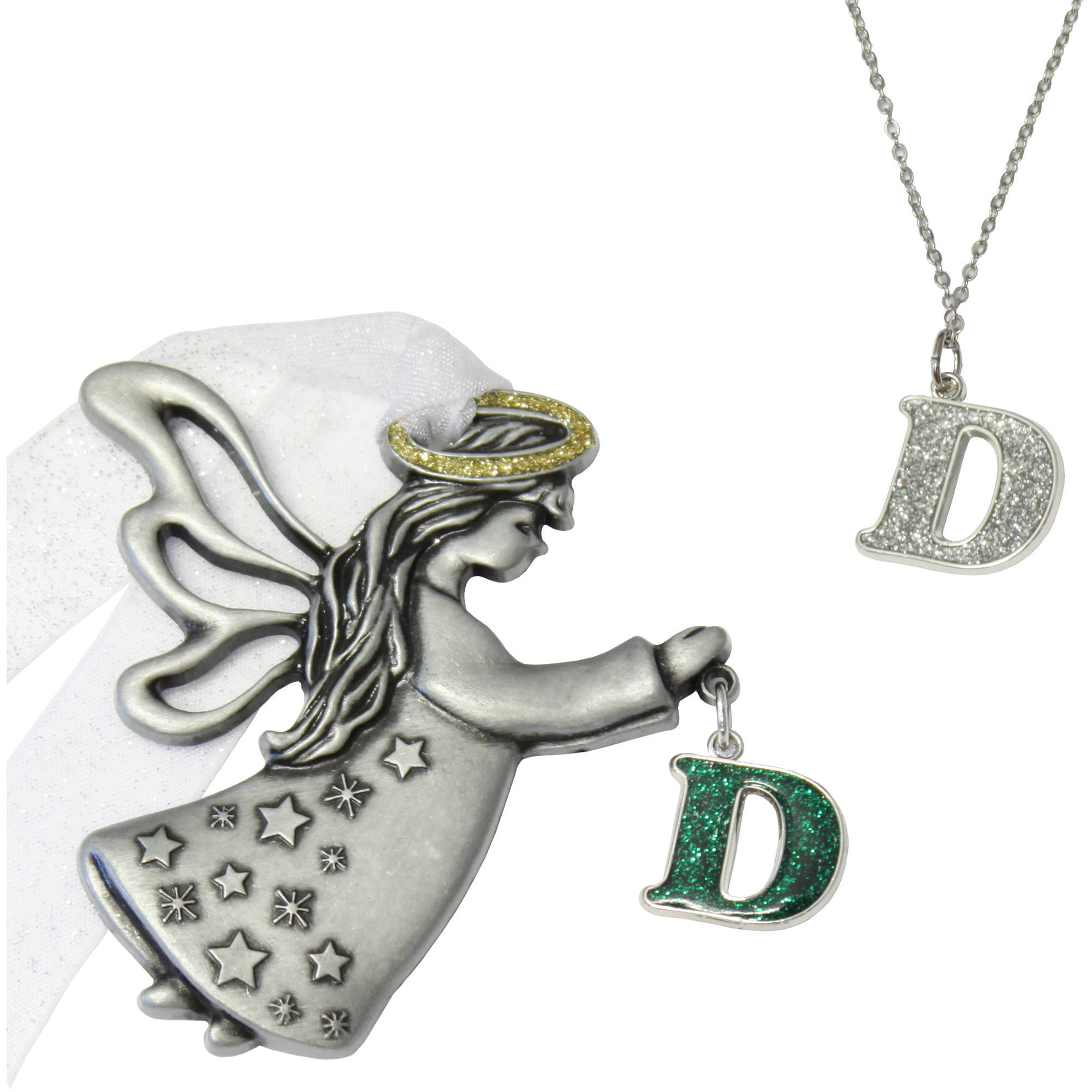 Personalized Gloria Duchin 2pc Initial Angel Ornament and Necklace Set, 18""