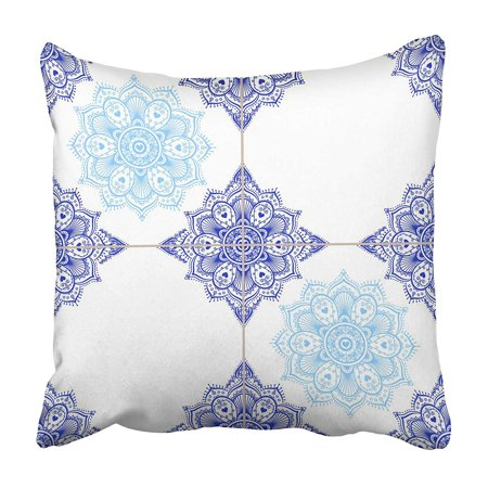 CMFUN Porcelain Blue Ceramic Tiles Collage Mandala Mosaic Oriental Glazed Tiled Borders Pillowcase 16x16 inch Glazed Ceramic Mosaic Floor