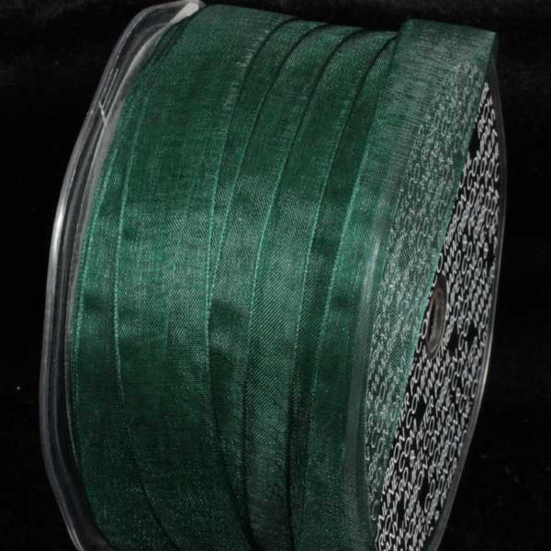 "Hunter Green Narrow Organdy Craft Ribbon .25"" x 200 Yards"