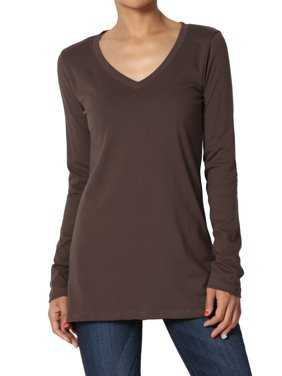 a4e1f590059 Product Image TheMogan Women s PLUS V-Neck Long Sleeve T-Shirt Stretch  Cotton Slim Fit Top