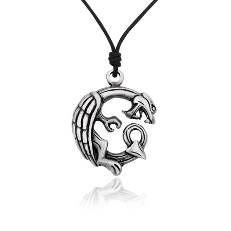 Unique Dragon Ouroboros Silver Pewter Charm Necklace Pendant Jewelry With Cotton (Silver Pewter Dragon)