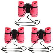 3pcs Toy Binoculars 4X30 Compact Foldable Binoculars Shock Proof Pink with Neck Strap for Bird Watching Hiking
