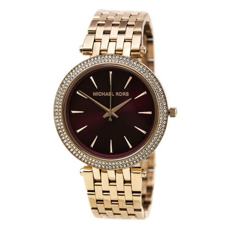 MK3378 Women's Darci Crystal Bezel Dark Red Dial Rose Gold Steel Bracelet Watch