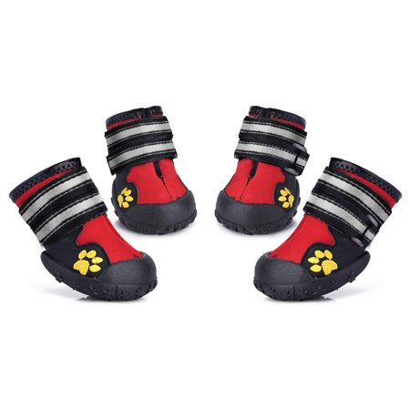 Petacc Dog Shoes Water Resistant Dog Boots Anti-Slip Snow Boots Warm Paw Protector for Medium to Large Dogs Labrador Husky Shoes 4 Pcs - Husky Dog Costume