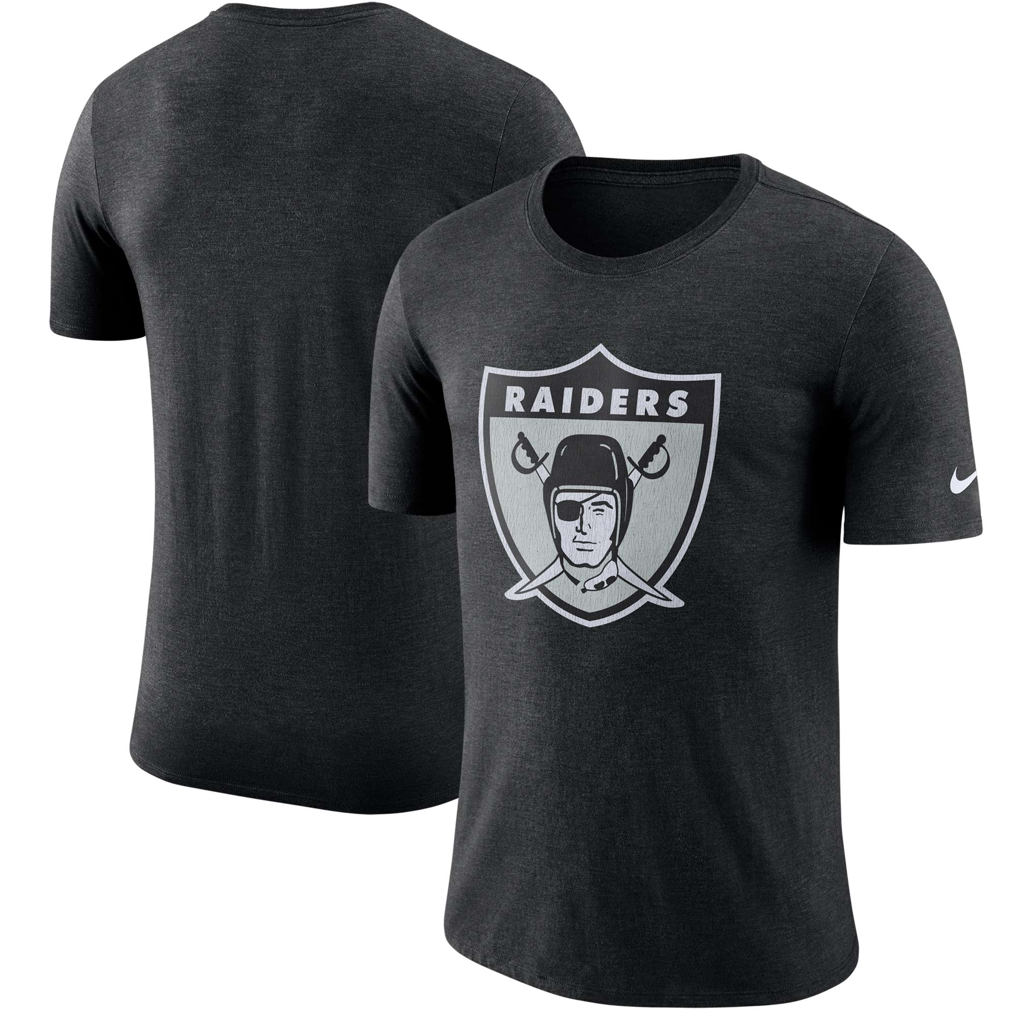 Oakland Raiders Nike Historic Tri-Blend Crackle T-Shirt - Heathered Black