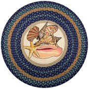 "Earth Rugs RP-353 Sea Shells Printed Rug, 27"", Dark Blue/Light Blue/Crème"