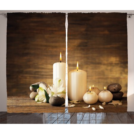 Spa Decor Curtains 2 Panels Set  Winter Valentines Day Couples Themed Candle Flowers And Stones Image  Window Drapes For Living Room Bedroom  108W X 90L Inches  White Black And Brown  By Ambesonne