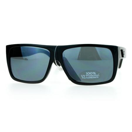 SA106 Mens All Black Flat Top Rectangular Mob Gangster - Gangsta Sunglasses