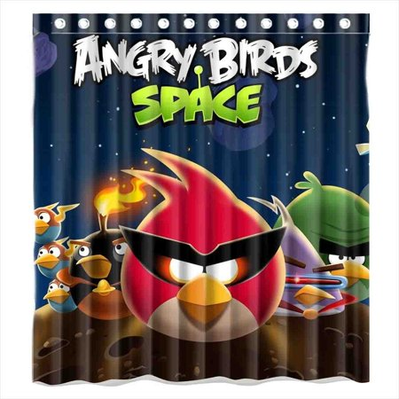 DEYOU Game Angry Bird Spake Shower Curtain Polyester Fabric Bathroom Size 66x72 Inches