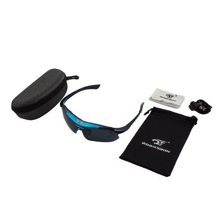 ROBESBON Authorized Exercise Polarized Eyewear Goggles Cycling Glasses Blue (See Eyewear Sunglasses)