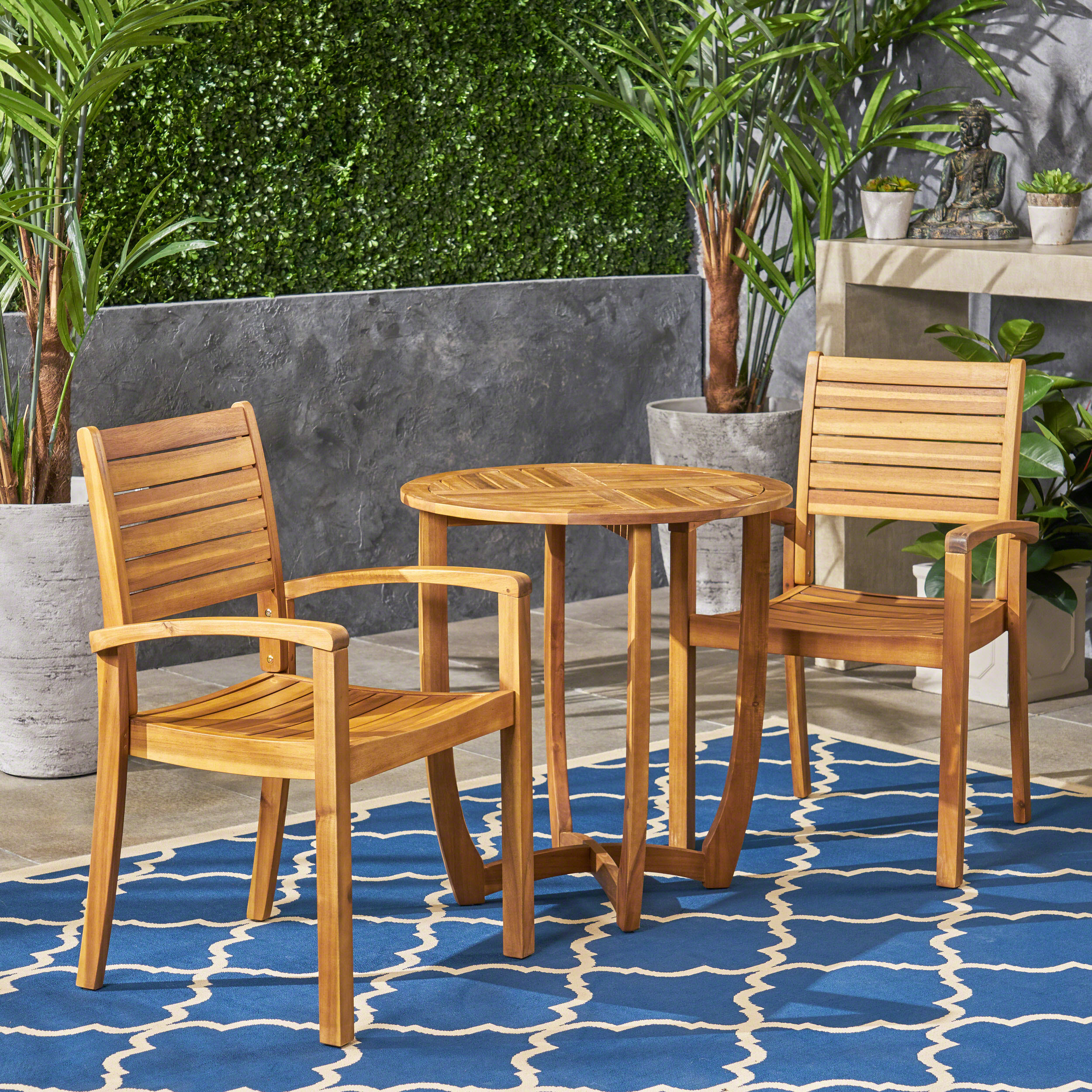 Cathy Outdoor 2 Seater Acacia Wood Bistro Set, Teak Finish by GDF Studio