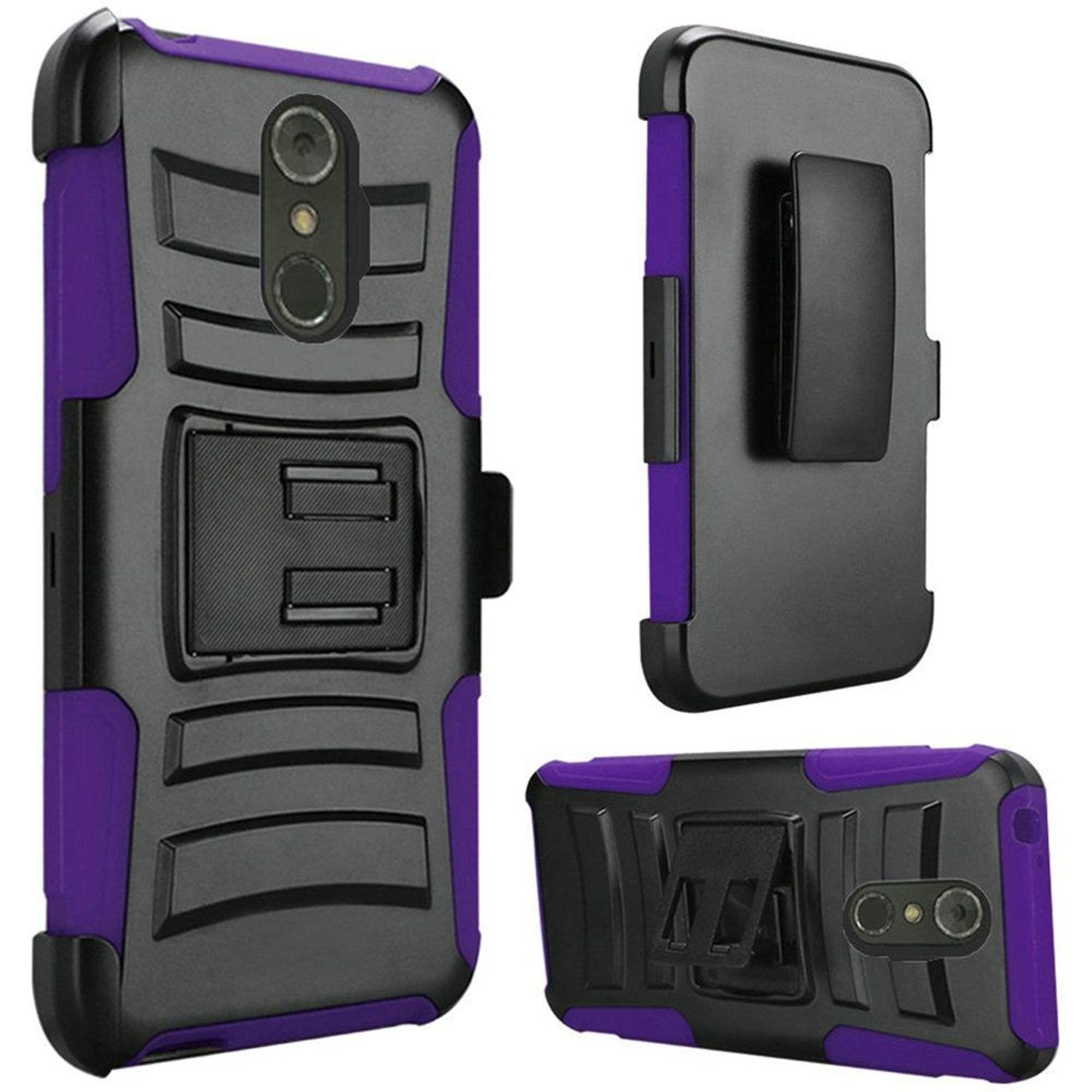 LG  Stylo 4 Stylo 4 plus Case, by HR Wireless Hard Hybrid Plastic Case w/stand/Holster For LG  Stylo 4 Stylo 4 plus - Black/Dark Purple