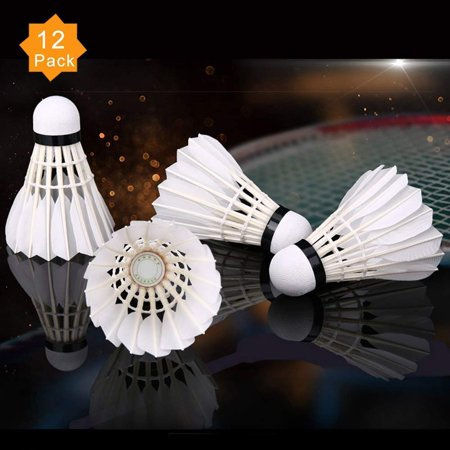 WALFRONT 12Pcs/White Feather Badminton Balls Shuttlecocks Outdoor Sports Training Accessor with Great Stability and Durability, Sports Hight Speed Training Badminton Balls for Indoor Outdoor (Best Badminton Feather Shuttlecock)