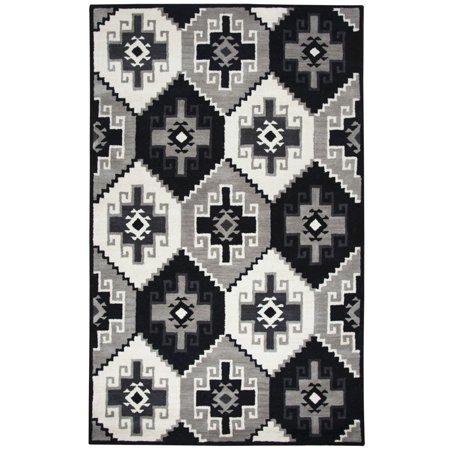 Gatney Rugs Athena Area Rugs - MF245A Contemporary Black Southwestern Blocks Shapes Jagged Rug