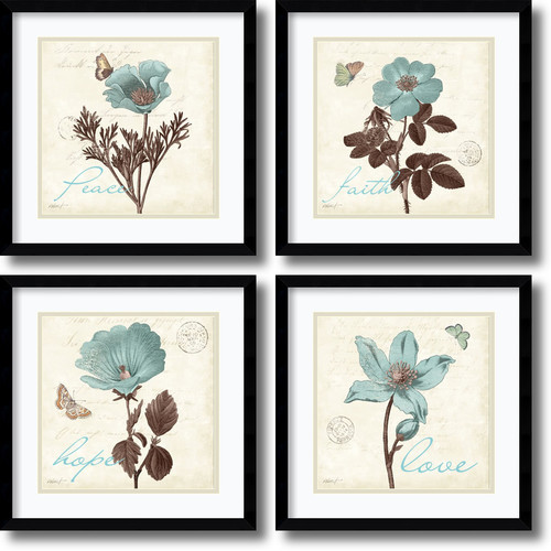 Amanti Art 'Touch of Blue, black frame' by Katie Pertiet 4 Piece Framed Painting Print Set