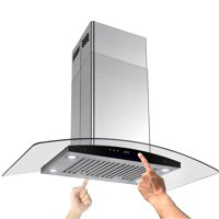 """AKDY 36"""" Stainless Curve Glass Island mount Range Hood Baffle Filter Dual Touch Control Panel"""