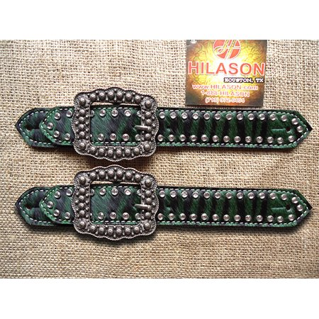 PS131CN140F- HILASON WESTERN GREEN ZEBRA HAIR ON LEATHER SPUR STRAPS W/ BUCKLE