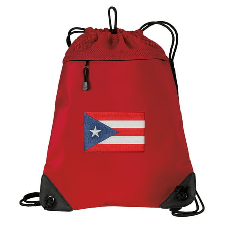 Puerto Rico Flag Cinch Pack Backpack for Girls or Boys Two Section Puerto Rico Drawstring Bag Mesh & Microfiber (Puerto Rico Costume For Boys)
