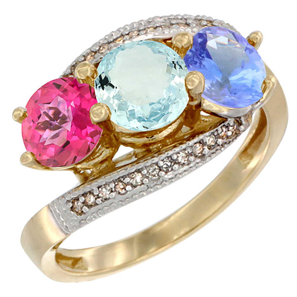 10K Yellow Gold Natural Pink Topaz, Aquamarine & Tanzanite 3 stone Ring Round 6mm Diamond Accent, sizes 5 10 by WorldJewels