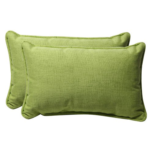 Pillow Perfect Outdoor/ Indoor Baja Lime Green Rectangle Throw Pillow (Set of 2)