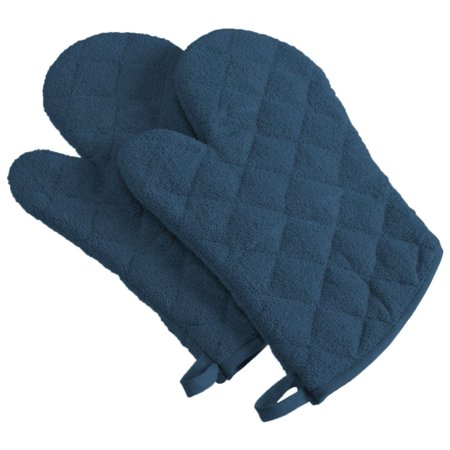 Set of 2 Terry Blue Diamond Pattern Quilted Oven Mitt with Hanger 13