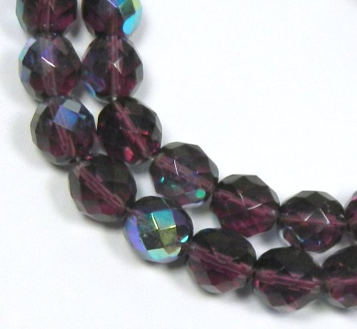 Amethyst Purple Ab Czech 10mm Faceted Round Firepolished Glass, Loose Beads, 16""