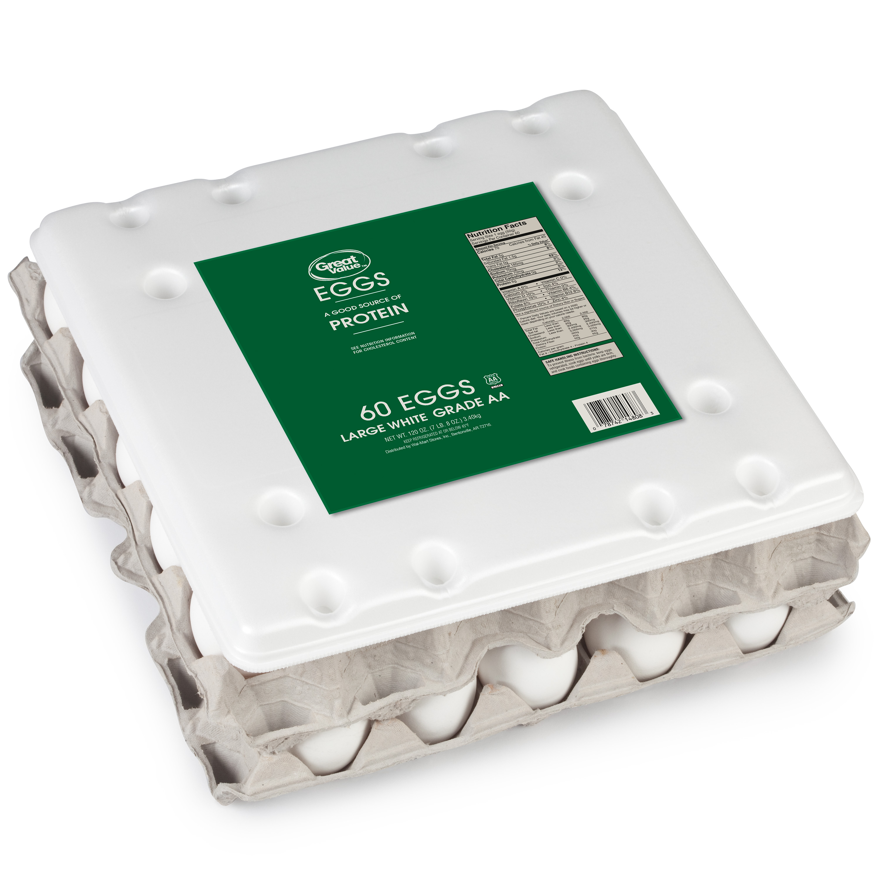 Great Value Large White Grade AA Eggs, 60 Count