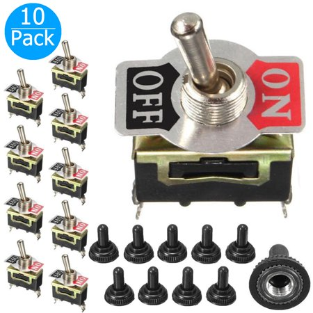 10-pack 15A 250VAC/20A 125VAC Rocker Toggle Switch ON/OFF Toggle SPST Switch for Car Truck Boat ATV