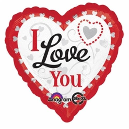 Anagram Valentines I Love You Hearts In Hearts 18' Foil Balloon, Red White