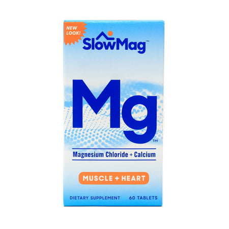 (2 pack) SlowMag Magnesium Chloride + Calcium Tablets, 60 Ct