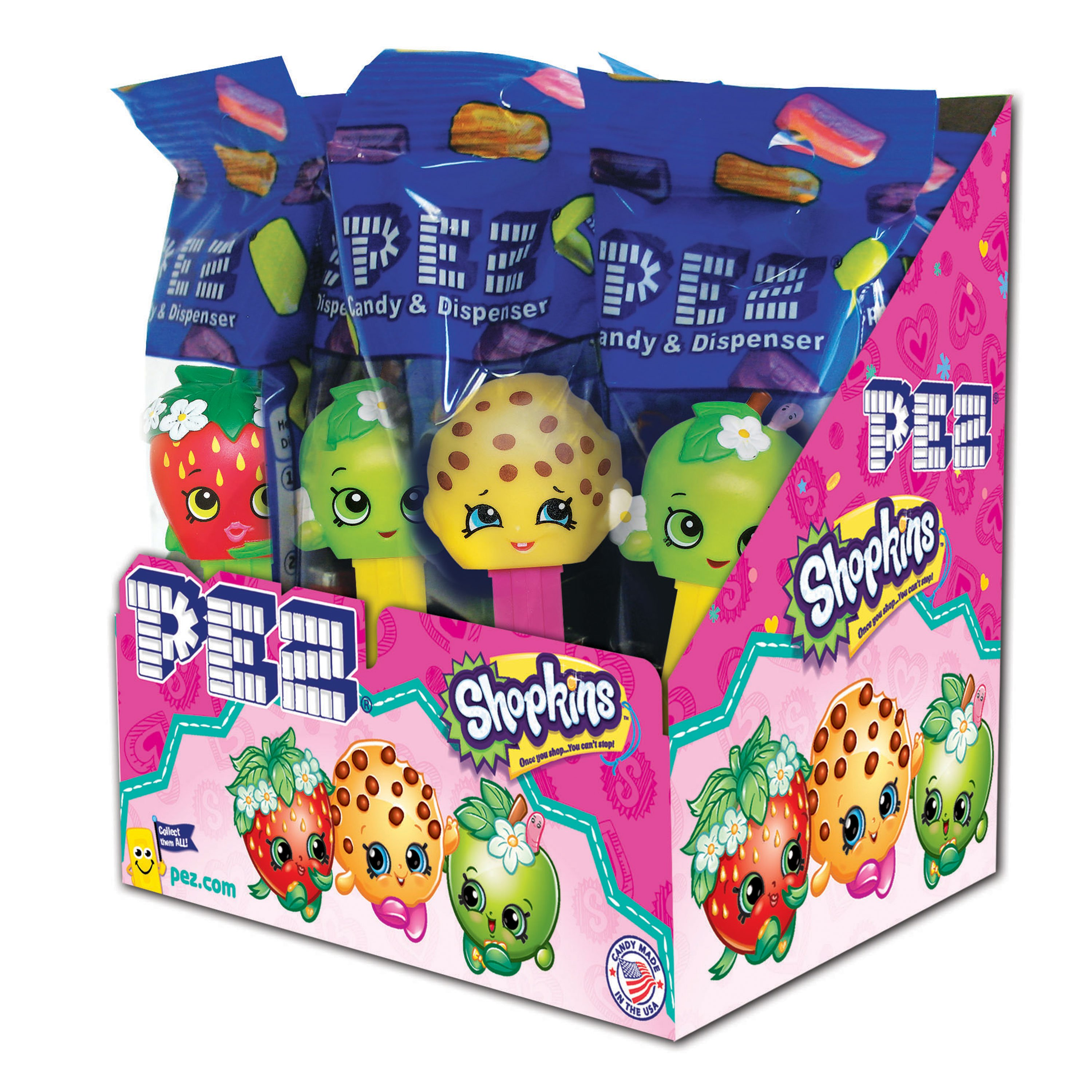 PEZ Candy Shopkins Assortment, candy dispenser plus 2 rolls of assorted fruit candy, box of 12