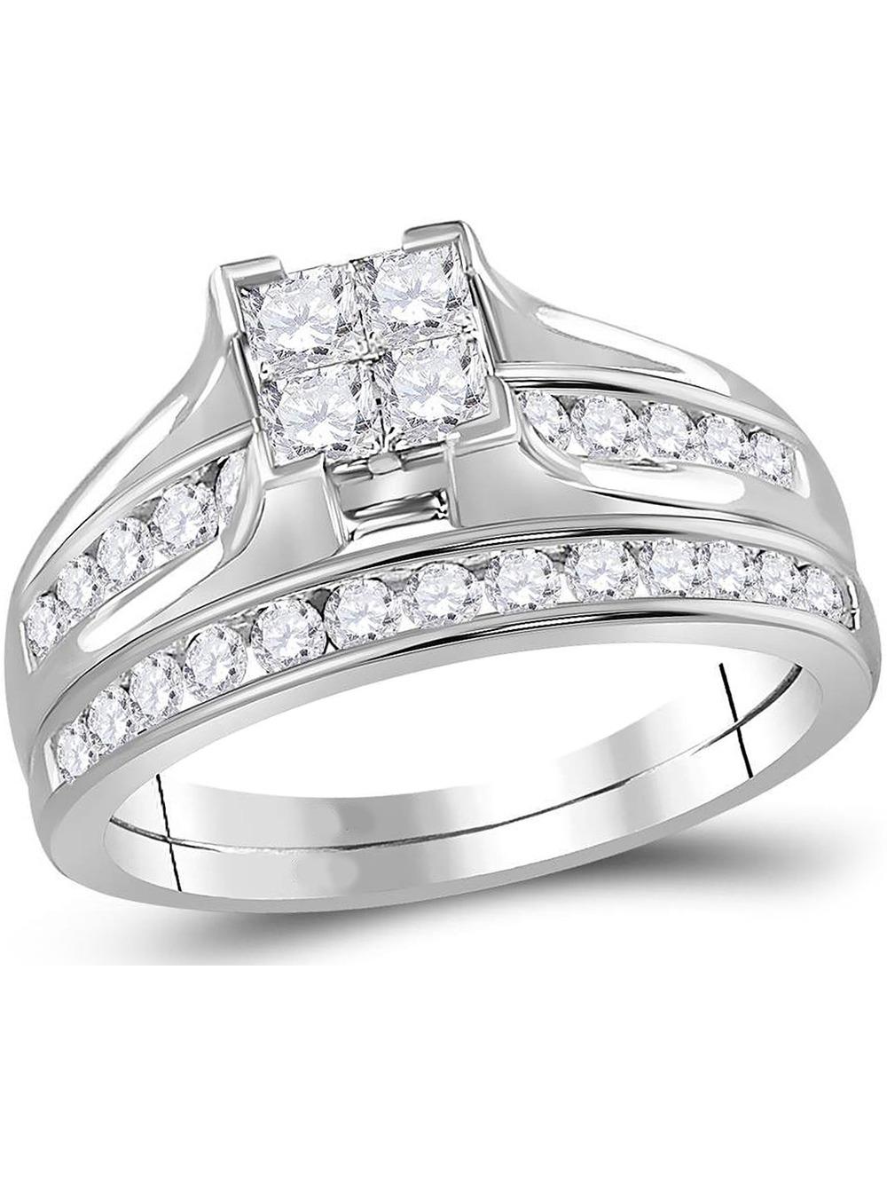 Princess Cut Diamond Engagement Ring Wedding Set 1 00 Carat Color
